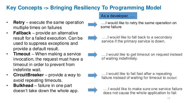 Key Concepts -> Bringing Resiliency To Programming Model • Retry – execute the same operation multiple times on failures •...