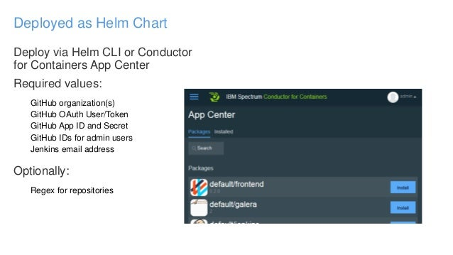 Deploy via Helm CLI or Conductor for Containers App Center Required values: GitHub organization(s) GitHub OAuth User/Token...