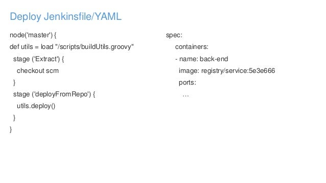"""Deploy Jenkinsfile/YAML node('master') { def utils = load """"/scripts/buildUtils.groovy"""" stage ('Extract') { checkout scm } ..."""