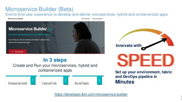 Microservice Builder (Beta) End-to-End user experience to develop and deliver microservices, hybrid and containerized apps...