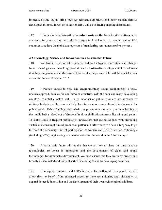 Advance unedited 4 December 2014 10:00 a.m.  immediate step, let us bring together relevant authorities and other stakehol...