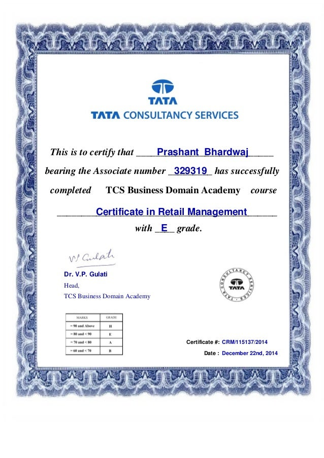 how to get a certificate iin retail