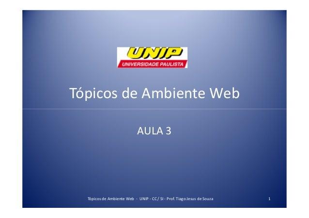 Tópicos de Ambiente Web AULA 3 1Tópicos de Ambiente Web - UNIP - CC / SI - Prof. Tiago Jesus de Souza