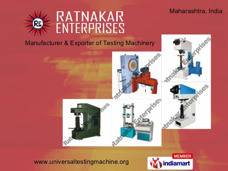 Manufacturer & Exporter of Testing Machinery Maharashtra, India