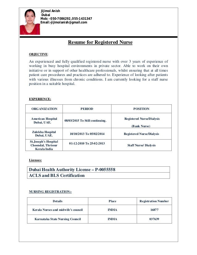 jijimol resume for dialysis nurse - Or Nurse Resume