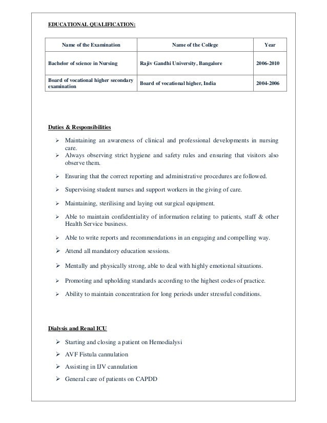 jijimol resume for dialysis nurse - Dialysis Nurse Resume Sample