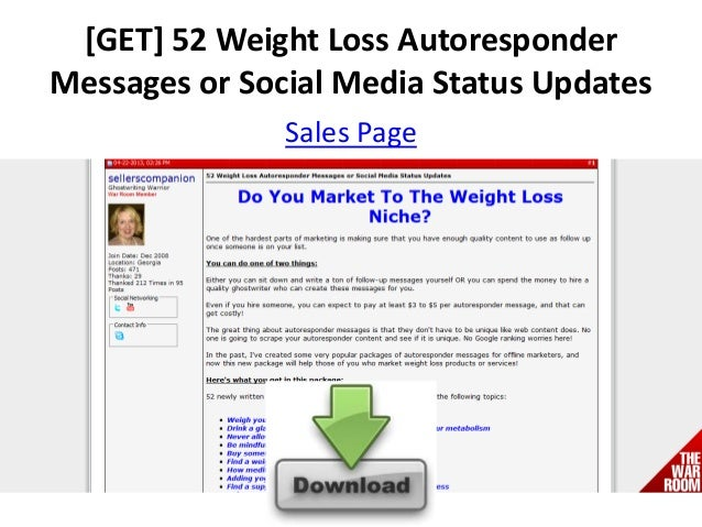 [GET] 52 Weight Loss AutoresponderMessages or Social Media Status UpdatesSales Page