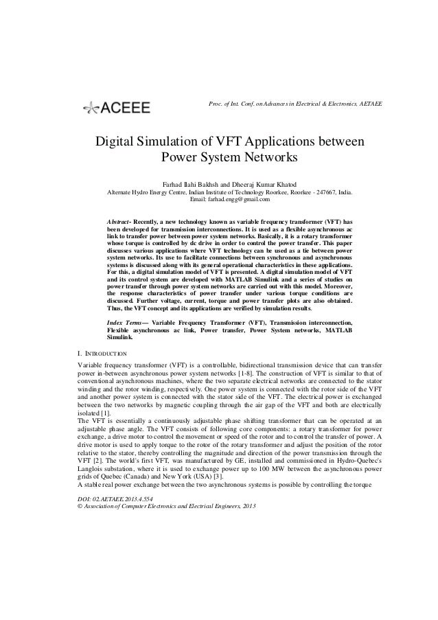 Proc. of Int. Conf. on Advances in Electrical & Electronics, AETAEE  Digital Simulation of VFT Applications between Power ...