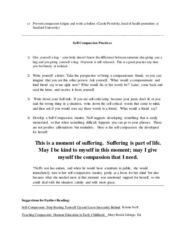 self compassion presentation handout  3 c prevent compassion