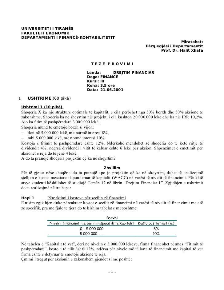 UNIVERSITETI I TIRANËS     FAKULTETI EKONOMIK     DEPARTAMENTI I FINANCË-KONTABILITETIT                                   ...