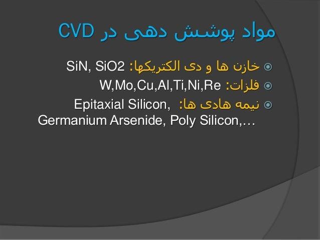 در دهی پوشش موادCVD الکتریکها دی و ها خازن:SiN, SiO2 فلزات:W,Mo,Cu,Al,Ti,Ni,Re ها هادی نیمه:E...