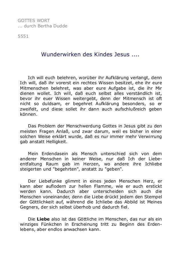 GOTTES WORT ... durch Bertha Dudde 5551 Wunderwirken des Kindes Jesus .... Ich will euch belehren, worüber ihr Aufklärung ...