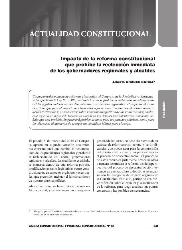 GACETA CONSTITUCIONAL Y PROCESAL CONSTITUCIONAL Nº 88 241 ACTUALIDAD CONSTITUCIONAL RESUMEN Impacto de la reforma constitu...