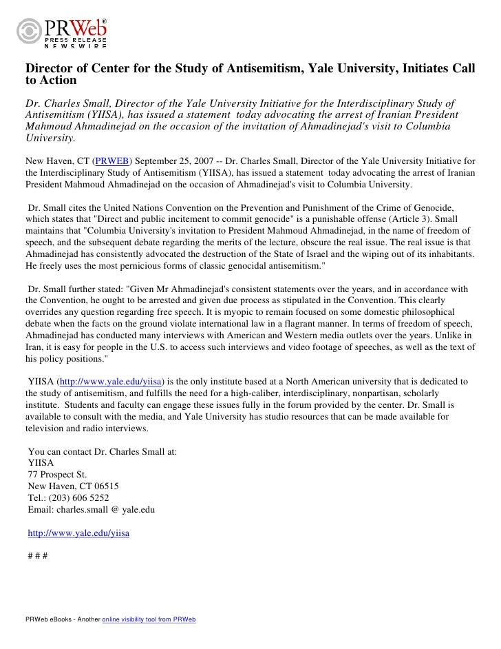 Director of Center for the Study of Antisemitism, Yale University, Initiates Call to Action Dr. Charles Small, Director of...