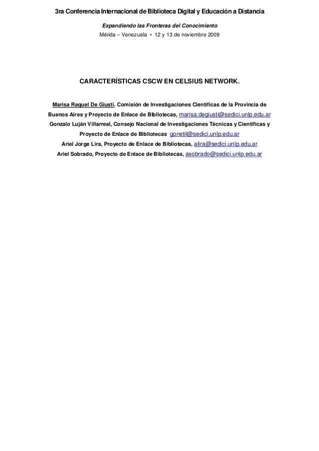 3ra Conferencia Internacional de Biblioteca Digital y Educación a Distancia Expandiendo las Fronteras del Conocimiento Mér...