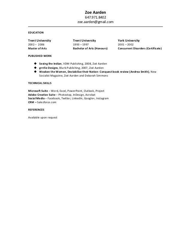 2016-09 Resume ZoeAarden - 2