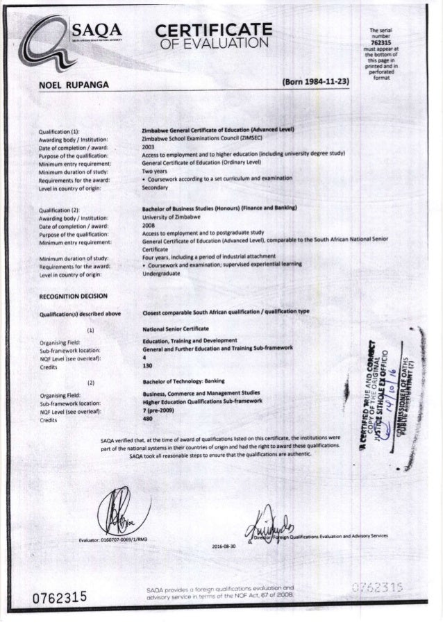 Noel Rupanga 42761830 Saqa Evaluation Certificate