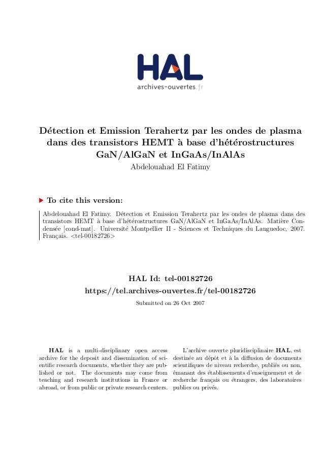 D´etection et Emission Terahertz par les ondes de plasma dans des transistors HEMT `a base d'h´et´erostructures GaN/AlGaN ...