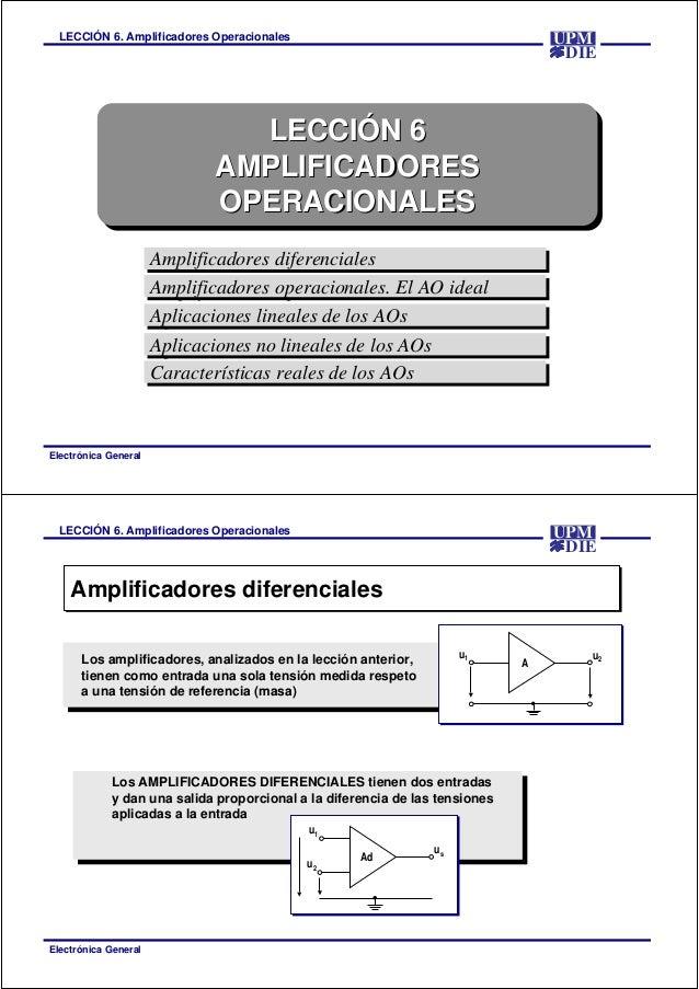 LECCIÓN 6. Amplificadores Operacionales Electrónica General DIE UPM LECCIÓN 6 AMPLIFICADORES OPERACIONALES LECCIÓNLECCIÓN ...