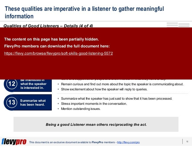 15 This document is an exclusive document available to FlevyPro members - http://flevy.com/pro These qualities are imperat...