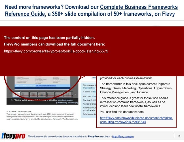 29 This document is an exclusive document available to FlevyPro members - http://flevy.com/pro Need more frameworks? Downl...