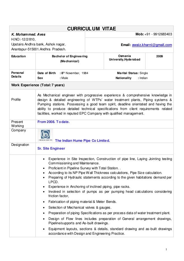 1 CURRICULUM VITAE K Mohammed Aves HNO 12 2 Evaluation Of Piping Design