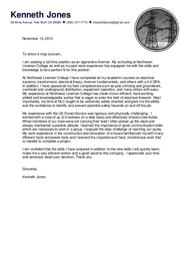 Apprentice Lineman Cover Letter