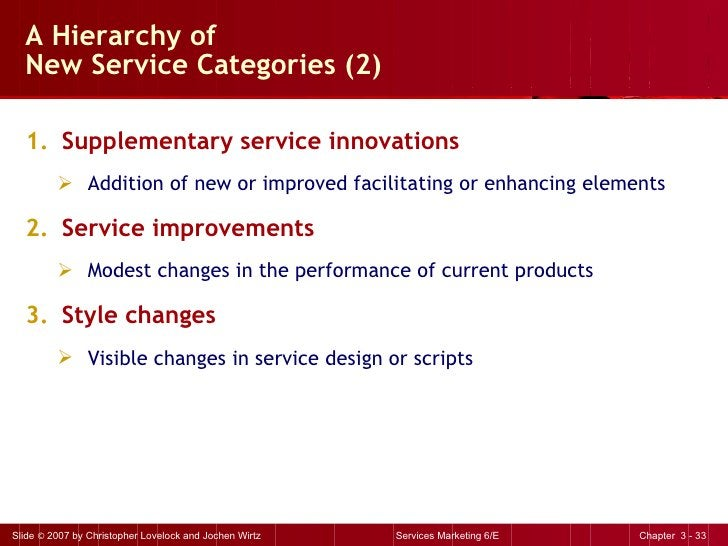 A Hierarchy of  New Service Categories (2) <ul><li>Supplementary service innovations </li></ul><ul><ul><li>Addition of new...