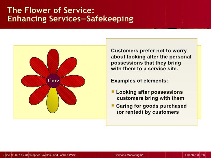 The Flower of Service: Enhancing Services — Safekeeping <ul><li>Customers prefer not to worry about looking after the pers...