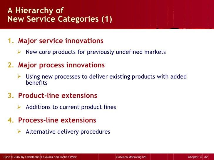 A Hierarchy of  New Service Categories (1)  <ul><li>Major service innovations </li></ul><ul><ul><li>New core products for ...