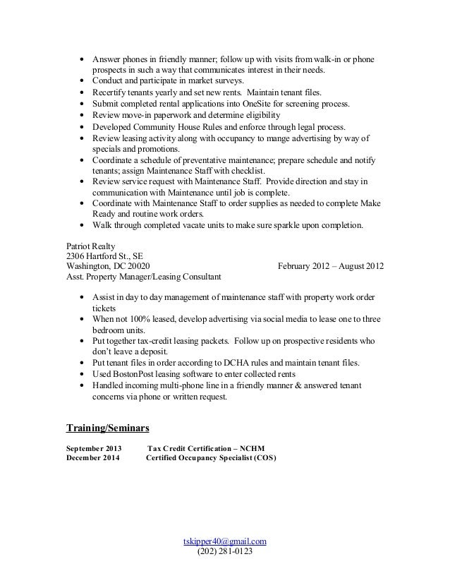 T Skipper Property Manager Resume