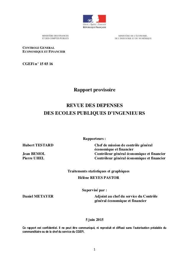 1 CONTROLE GENERAL ECONOMIQUE ET FINANCIER CGEFi n° 15 03 16 Rapport provisoire REVUE DES DEPENSES DES ECOLES PUBLIQUES D'...