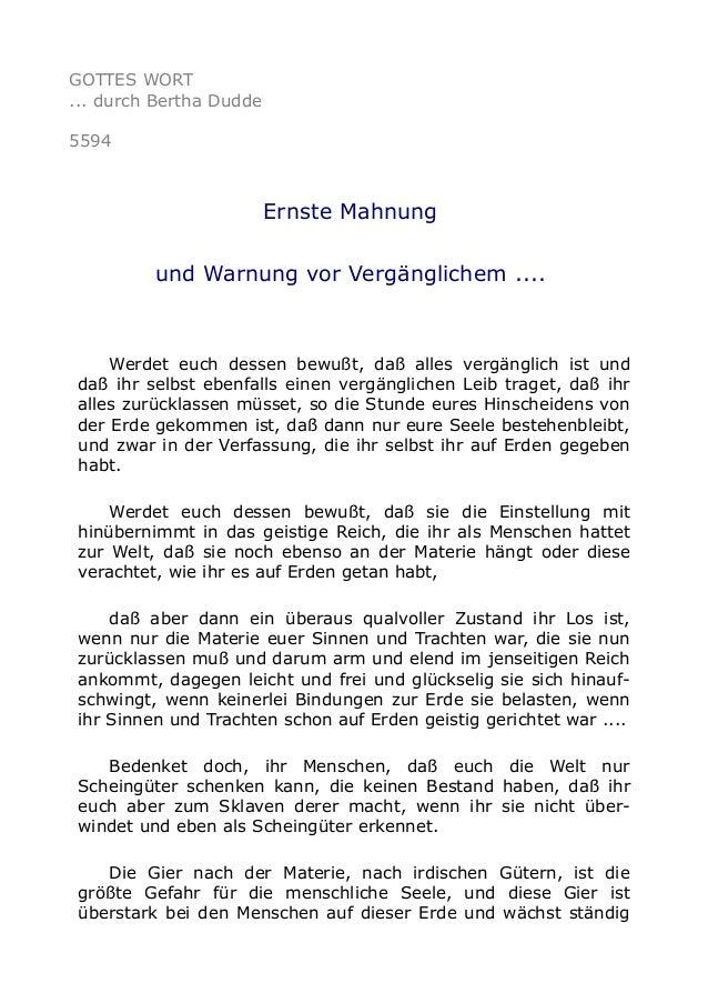 GOTTES WORT ... durch Bertha Dudde 5594 Ernste Mahnung und Warnung vor Vergänglichem .... Werdet euch dessen bewußt, daß a...