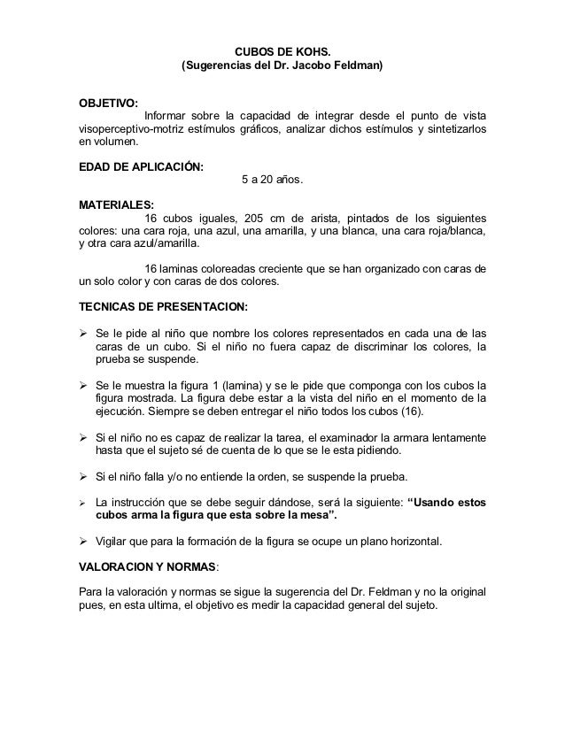 CUBOS DE KOHS.                     (Sugerencias del Dr. Jacobo Feldman)OBJETIVO:             Informar sobre la capacidad d...