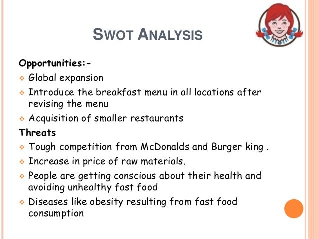 wendys analysis Published: tue, 16 may 2017 executive summary wendys old fashioned hamburgers is an international fast food chain restaurant founded by dave thomason november 15, 1969, in columbus, ohio, and moved headquarters to dublin, ohio on january 29, 2006.