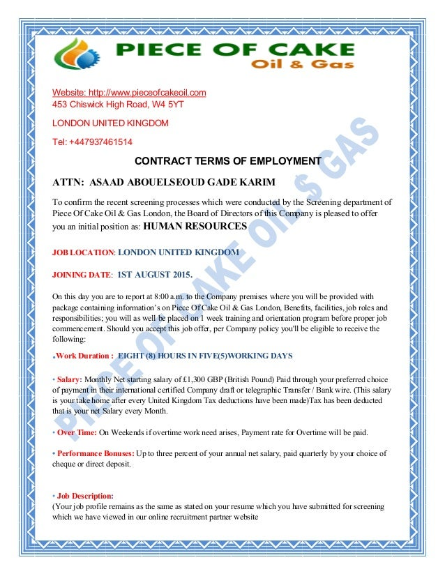 Piece Of Cake Oil & Gas Contract Terms of Employment for Asaad