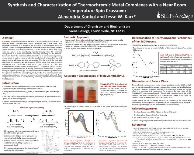 Synthesis)and)Characteriza0on)of)Thermochromic)Metal)Complexes)with)a)Near)Room) Temperature)Spin)Crossover)) Alexandria)K...