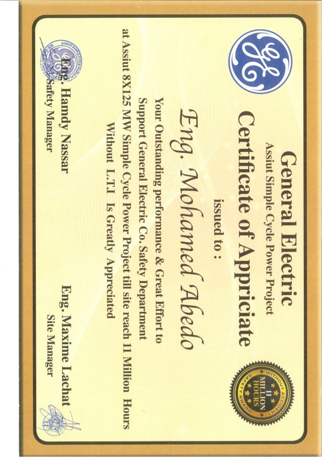 GE certificate of appriciate