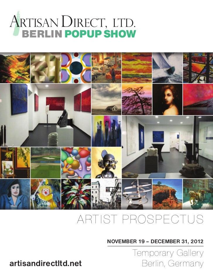 BERLIN POPUP SHOW                                      ARTIST PROSPECTUS                  Park n Front                    ...