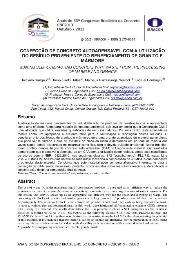 ANAIS DO 55º CONGRESSO BRASILEIRO DO CONCRETO – CBC2013 – 55CBC 1 CONFECÇÃO DE CONCRETO AUTOADENSAVEL COM A UTILIZAÇÃO DO ...