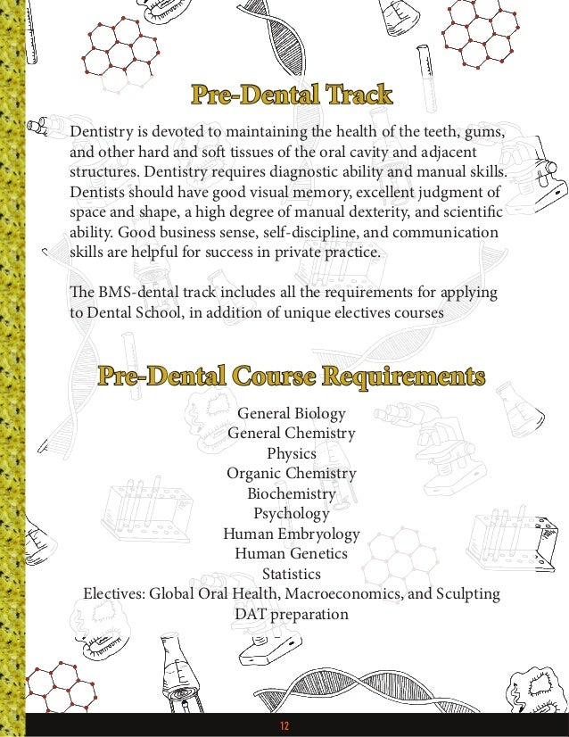 12 Pre-Dental Track Dentistry is devoted to maintaining the health of the teeth, gums, and other hard and soft tissues of ...