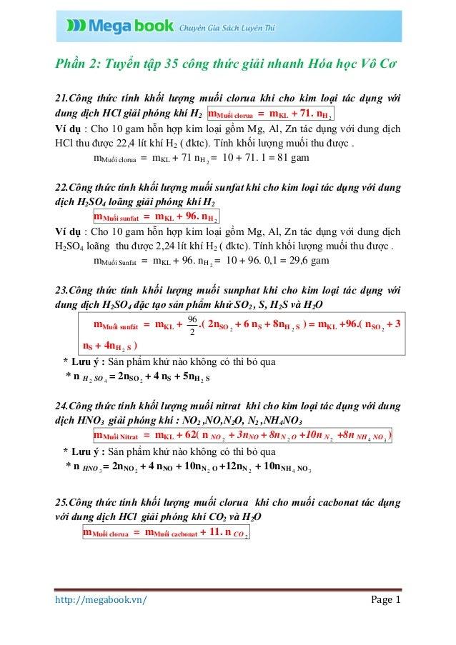 http://megabook.vn/ Page 1 Phần 2: Tuyển tập 35 công thức giải nhanh Hóa học Vô Cơ 21.Công thức tính khối lượng muối cloru...