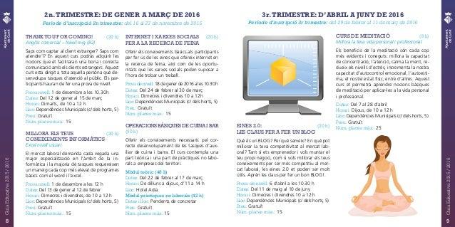 2n.TRIMESTRE: DE GENER A MARÇ DE 2016 Període d'inscripció 2n trimestre: del 16 al 27 de novembre de 2015 THANKYOU FOR COM...