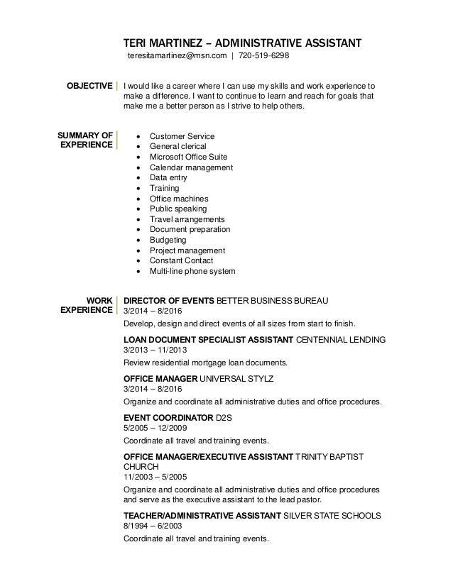 Teri Martinez Administrative Assistant Resume 2 2017