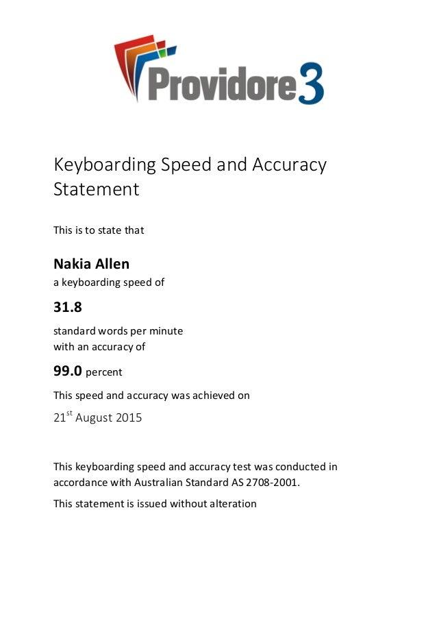 Nakia Allen Typing Test Certificate