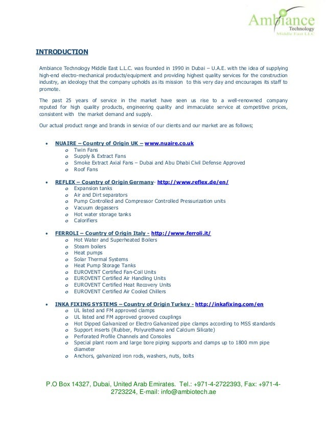 Ambiance Technology Introduction Letter – Country of Origin Letter