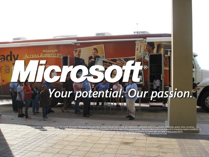© 2008 Microsoft Corporation. All rights reserved. Microsoft, Windows, Windows Vista and other product names are or may be...