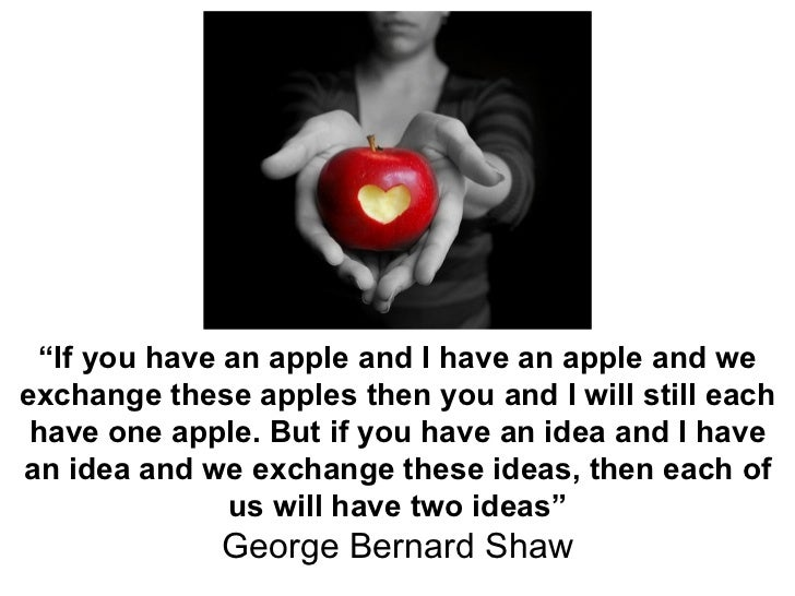 """"""" If you have an apple and I have an apple and we exchange these apples then you and I will still each have one apple. But..."""