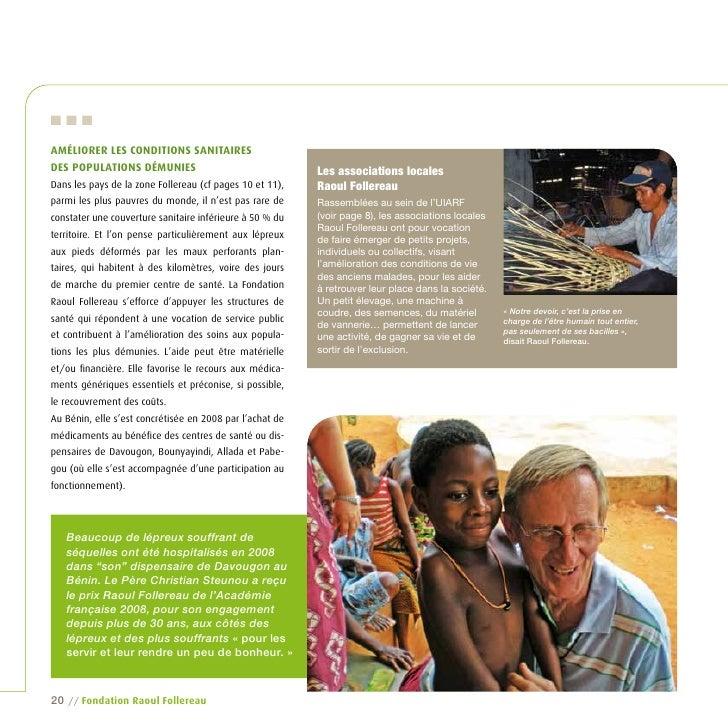 … amÉliorer les Conditions sanitaires des populations dÉmunies                                  Les associations locales D...