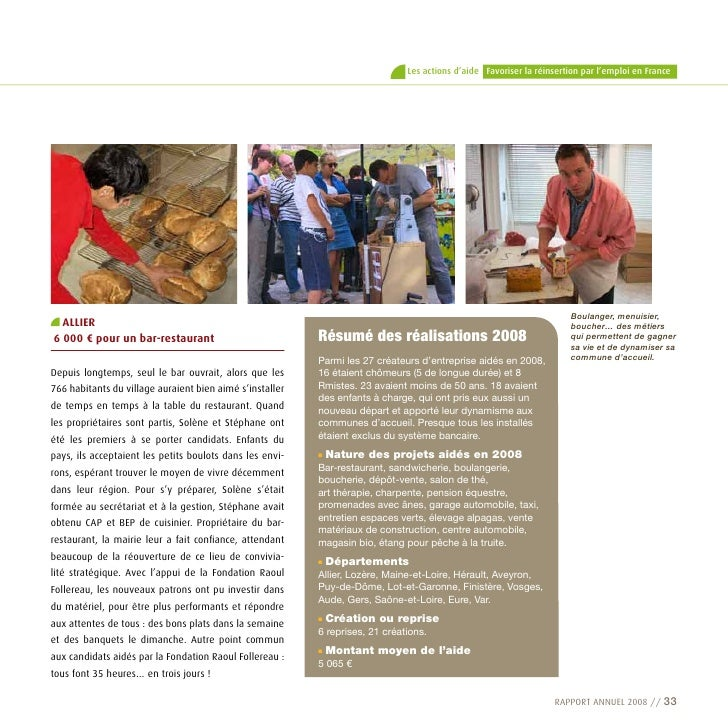 Les actions d'aide Favoriser la réinsertion par l'emploi en France                                                        ...